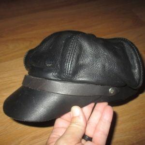 VINTAGE BLACK LEATHER BIKER HAT